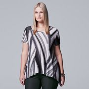 Plus Size Simply Vera Vera Wang Textured Handkerchief Tee