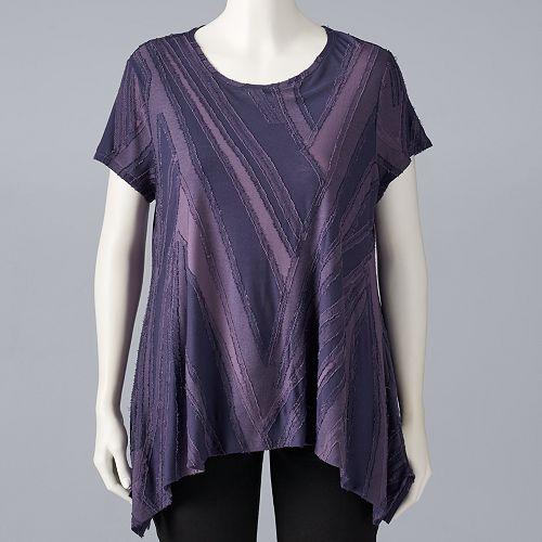 Plus Size Simply Vera Vera Wang Textured Handkerchief Tee