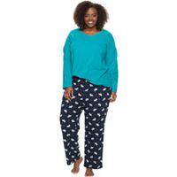 Plus Size Croft & Barrow® Pajamas: Microfleece 2-Piece PJ Set