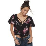 Juniors' Mudd® Floral Tie Front Crop Top