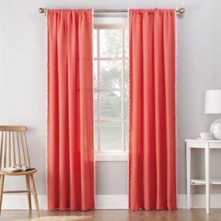 No 918 1-Panel Gigi Pom Pom Microfiber Window Curtain