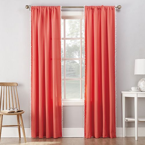 No 918 1-Panel Gigi Pom Pom Microfiber Window Curtain