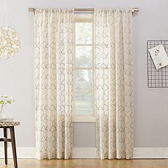 No 918 1-Panel Lima Embroidered Scallop Sheer Window Curtain