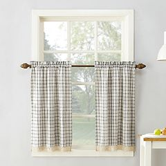 No918 Maisie Plaid Tier Kitchen Window Curtain Set