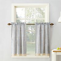No918 Maisie Plaid Tier Kitchen Window Curtain Set