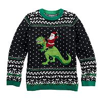 Boys 8-20 T-Rex Santa Sweater