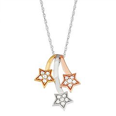Tri-Tone Sterling Silver 1/3 Carat T.W. Diamond Falling Star Pendant Necklace