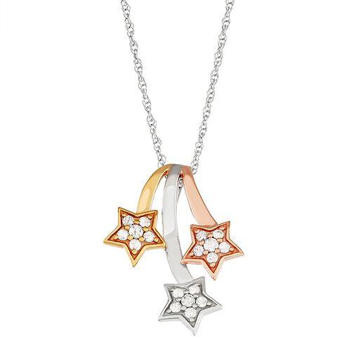 Tri-Tone Sterling Silver 1/3 Carat T.W. Diamond Falling Star Pendant Necklace