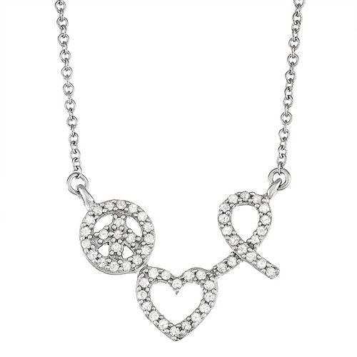 Sterling Silver 1/4 Carat T.W. Diamond Love Peace & Hope Pendant Necklace