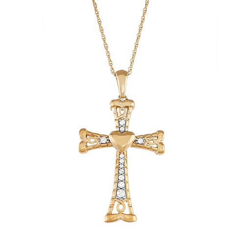 Gold Tone Sterling Silver 1/4 Carat T.W. Diamond Cross Pendant Necklace