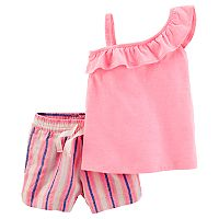 Girls 4-8 Carter's One-Shoulder Ruffle Neon Tank Top & Striped Linen Shorts Set