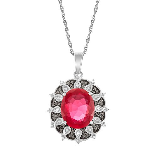 Sterling Silver Lab-Created Ruby & Diamond Accent Pendant Necklace