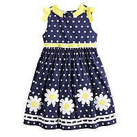 Girls 4-6x Blueberi Boulevard Polka-Dot Daisy Applique Sundress