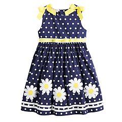 Girls 4-6x Blueberi Boulevard Polka-Dot Daisy Applique Sundress
