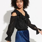 k/lab Ruffled Cold-Shoulder Blouse
