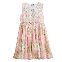 Girls 4-6x Blueberi Boulevard Floral Print Lace Peter Pan Collar Dress