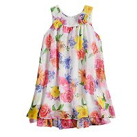 Girls 4-6x Blueberi Boulevard Multi-Colored Floral Print Chiffon Dress