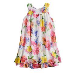 Girls 4-6x Blueberi Boulevard Multi-Colored Floral Print Chiffon Dress