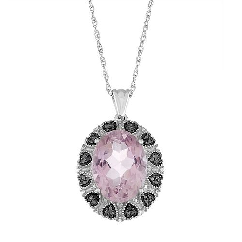 Sterling Silver Pink Amethyst Black & White Diamond Accent Oval Pendant Necklace