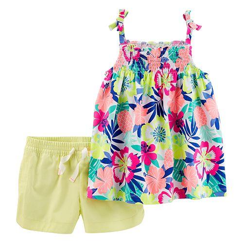 Girls 4-8 Carter's Smocked Tropical Flower Tank Top & Neon Shorts Set