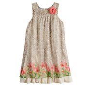 Girls 4-6x Blueberi Boulevard Cheetah Print & Floral Border Dress