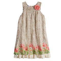 Girls 4-6x Blueberi Boulevard Cheetah Print & Floral Border Dress