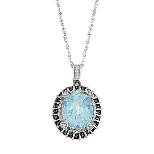 Sterling Silver Sky Blue Topaz & Diamond Accent Oval Pendant Necklace