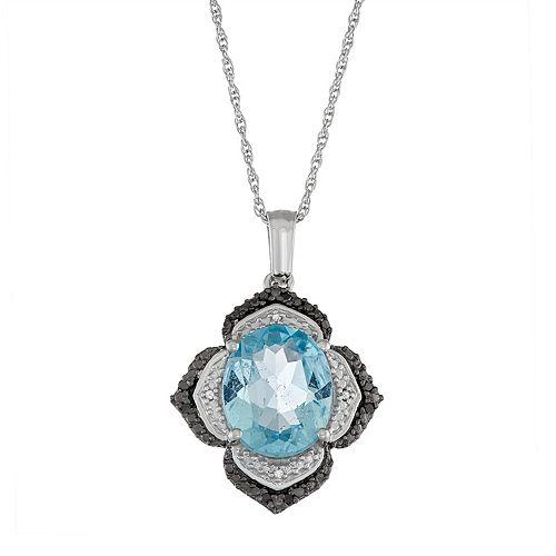 Sterling Silver Sky Blue Topaz & Diamond Accent Flower Pendant Necklace