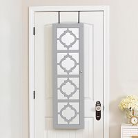 InnerSpace Moroccan Trellis Wall & Over-The-Door Mirror Jewelry Armoire