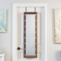 InnerSpace Light-Up Marquee Wall & Over-The-Door Mirror Jewelry Armoire