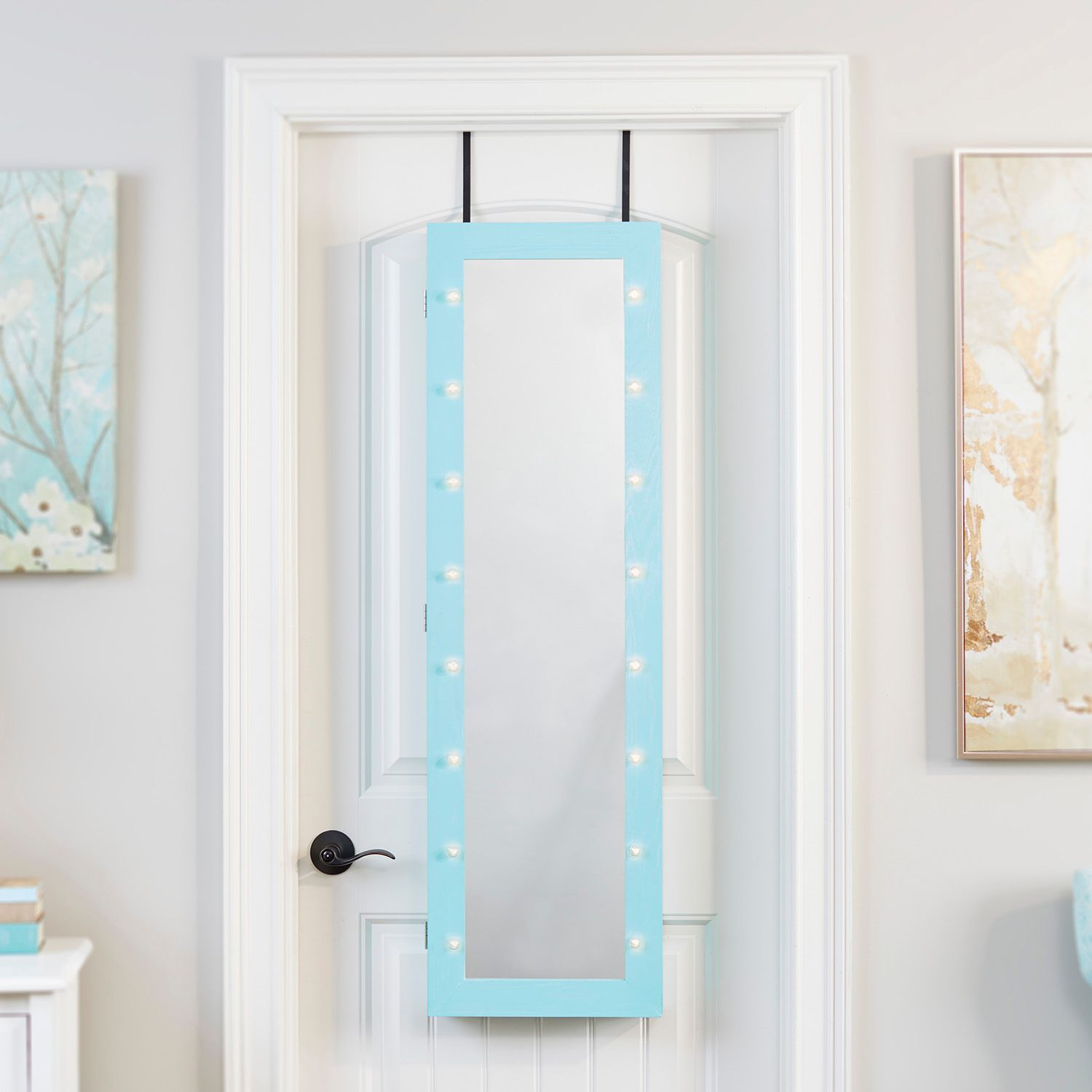 InnerSpace Light Up Marquee Wall U0026 Over The Door Mirror Jewelry Armoire