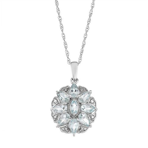 Sterling Silver Aquamarine & Diamond Accent Flower Pendant