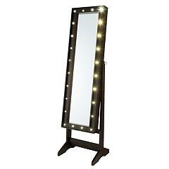 InnerSpace Light-Up Marquee Wall & Floor Mirror Jewelry Armoire