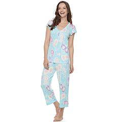 Women's Miss Elaine Essentials Pajamas: Liquidknit Short Sleeve Tee & Capris PJ Set