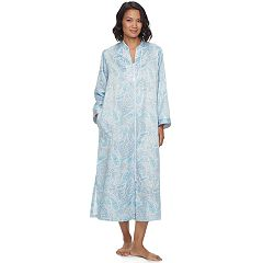 Women's Miss Elaine Essentials Paisley Print Satin Zip-Up Robe