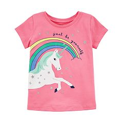 Girls 4-8 Carter's 'Just Be Yourself' Wraparound Unicorn & Rainbow Graphic Tee
