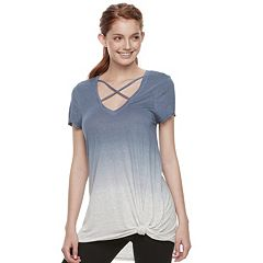 Juniors' Miss Chievous Cross Front Dip Dye Tee