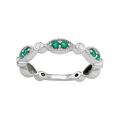 Sterling Silver Lab-Created Emerald & Lab-Created White Sapphire Ring