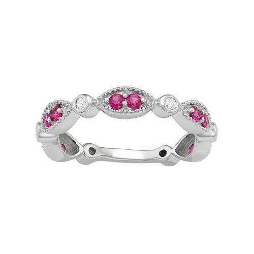 Sterling Silver Lab-Created Ruby & Lab-Created White Sapphire Ring
