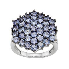 Sterling Silver Tanzanite Cluster Ring