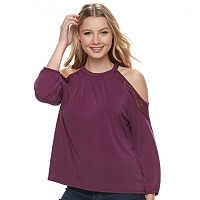 Juniors' Mudd® Cold-Shoulder Lace Inset Top