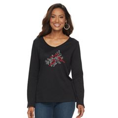 Women's Croft & Barrow® Holiday V-Neck Tee