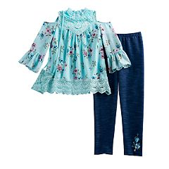 Girls 7-16 Knitworks Cold-Shoulder Floral Top & Faux-Denim Leggings Set with Crossbody Purse
