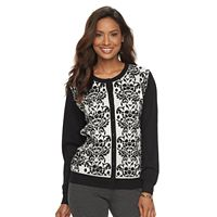 Women's Croft & Barrow® Flocked Lace Cardigan