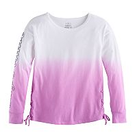 Girls 7-16 SO® Drop Shoulder Lace-Up Side Tee