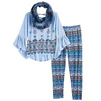Girls 7-16 Knitworks Patterned Bell Sleeve Top, Leggings & Infinity Scarf Set with Necklace