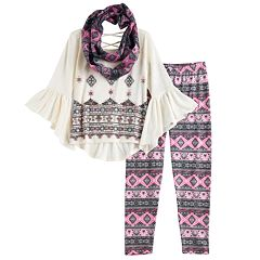 Girls 7-16 Knitworks Patterned Bell Sleeve Top, Leggings & Infinity Scarf Set