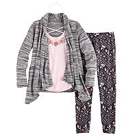 Girls 7-16 Knitworks Cozy Cardigan Top, Tank Top & Leggings Set with Necklace