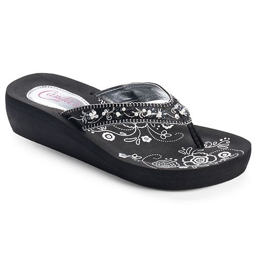 30aca2bcd Candie s® Women s Floral Simulated Pearl Wedge Flip-Flops