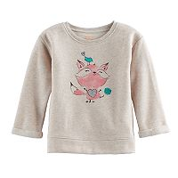 Jumping Beans® Baby Girl Fleece-Lined Glittery Fox Graphic Pullover Sweater